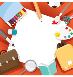 School Supplies Objects On Frame vector image