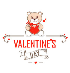 teddy bears with hearts vector image vector image