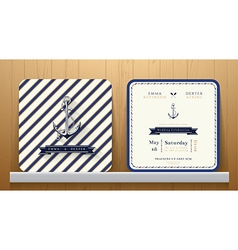 Vintage Nautical Anchors Wedding Invitation Card vector image vector image