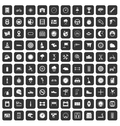 100 motorsport icons set black vector