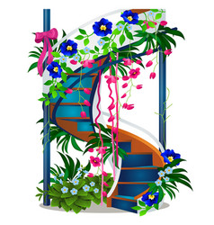 A beautiful spiral staircase with flowers isolated vector