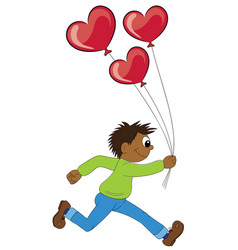 a cartoon african boy running with balloons in vector image