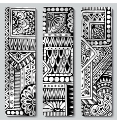 Abstract hand drawn ethnic pattern card set vector