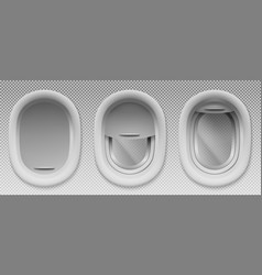 airplane portholes with open and closed shade vector image