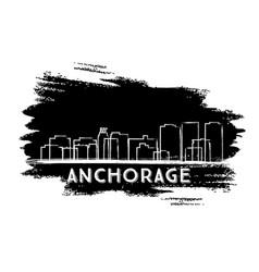 Anchorage skyline silhouette hand drawn sketch vector