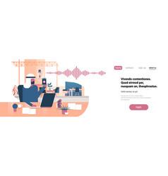 Arabic businessman hold phone intelligent voice vector