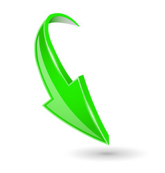 Arrow down green 3d shiny sign vector