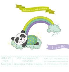 Baby shower card - panda on a rainbow vector