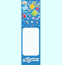 Back to school vertical banner or bookmark vector