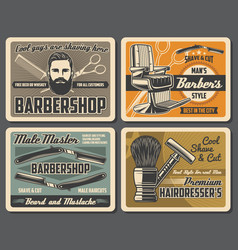 Barbershop chair barber razors scissors and comb vector