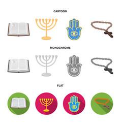 bible menorah hamsa orthodox crossreligion set vector image