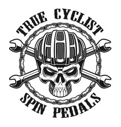 Black and white skull in cyclist helm vector