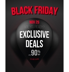 Black Friday Sale Air Balloon Poster Template vector image