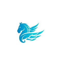 Blue horse pegasus logo vector