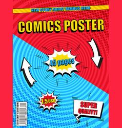 Bright comics poster template vector