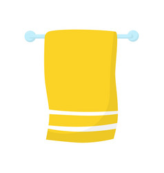 bright yellow towel with white stripes hanging on vector image