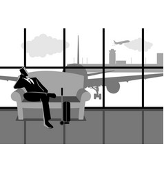 businessman waiting his flight at the airport vector image