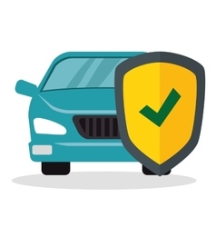 car with shield insurance vector image