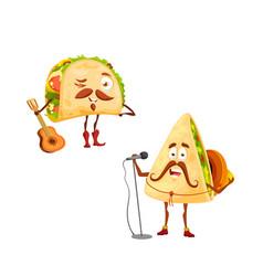 Cartoon mexican tacos and quesadilla characters vector