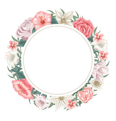 circle frame of roses tulips and different flower vector image