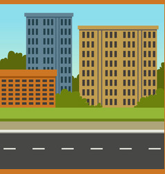 City street with road and city buildings summer vector