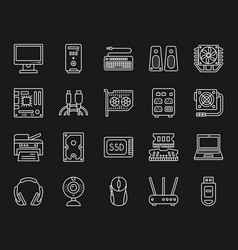 computer simple white line icons set vector image