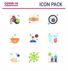 coronavirus 9 flat color icon set on theme vector image