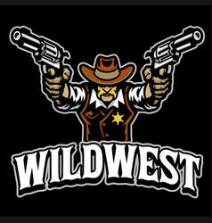 Cowboy mascot character logo with guns vector