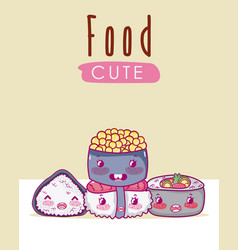 Cute japanese food kawaii cartoon vector