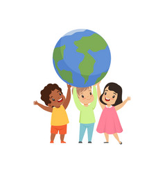 cute multicultural little kids standing under the vector image