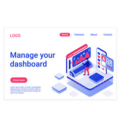 dashboard management isometric landing page vector image