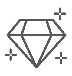 diamond line icon jewellery and accessory vector image