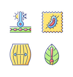 Different fabric features flat color icon set vector