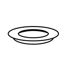 Dish plate food outline vector