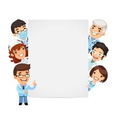 Doctors Presenting Empty Vertical Banner vector image