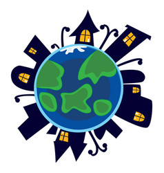Earth day planet sleeps at night with city houses vector