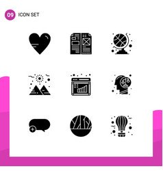 Editable line pack 9 simple solid glyphs of vector