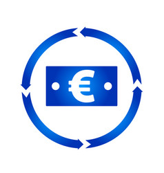 euro bill turn icon vector image