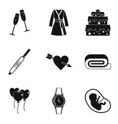 Feminine principle icons set simple style vector