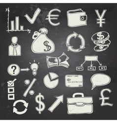 Finance and business doodle on blackboard vector image