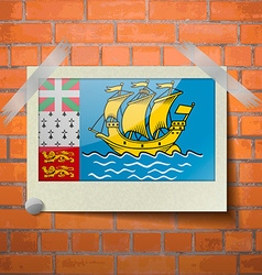 Flags Saint Pierre Miquelon scotch taped to a red vector