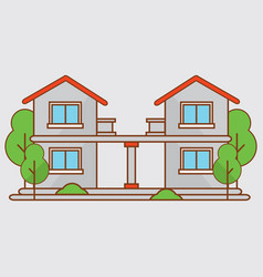 Flat house apartment with town landscape vector