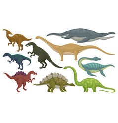 Flat set of prehistoric animals dinosaurs vector