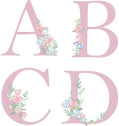flower alphabet letter c vector image