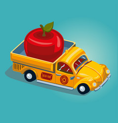 food delivery concept retro pickup car with fruit vector image