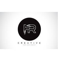 fr modern leter logo design with black and white vector image