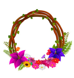 Frame of roots and flowers vector