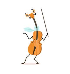 funny violin musical instrument cartoon character vector image