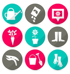 Gardening Icons - Tools Set in Retro Style - Flat vector image