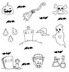 Ghost and zombie doodle halloween vector